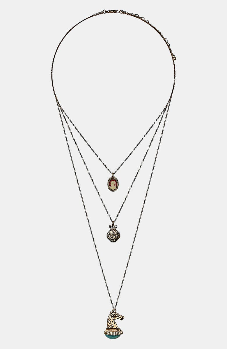 TOPSHOP 'Cameo' Multirow Necklace, Main, color, 049