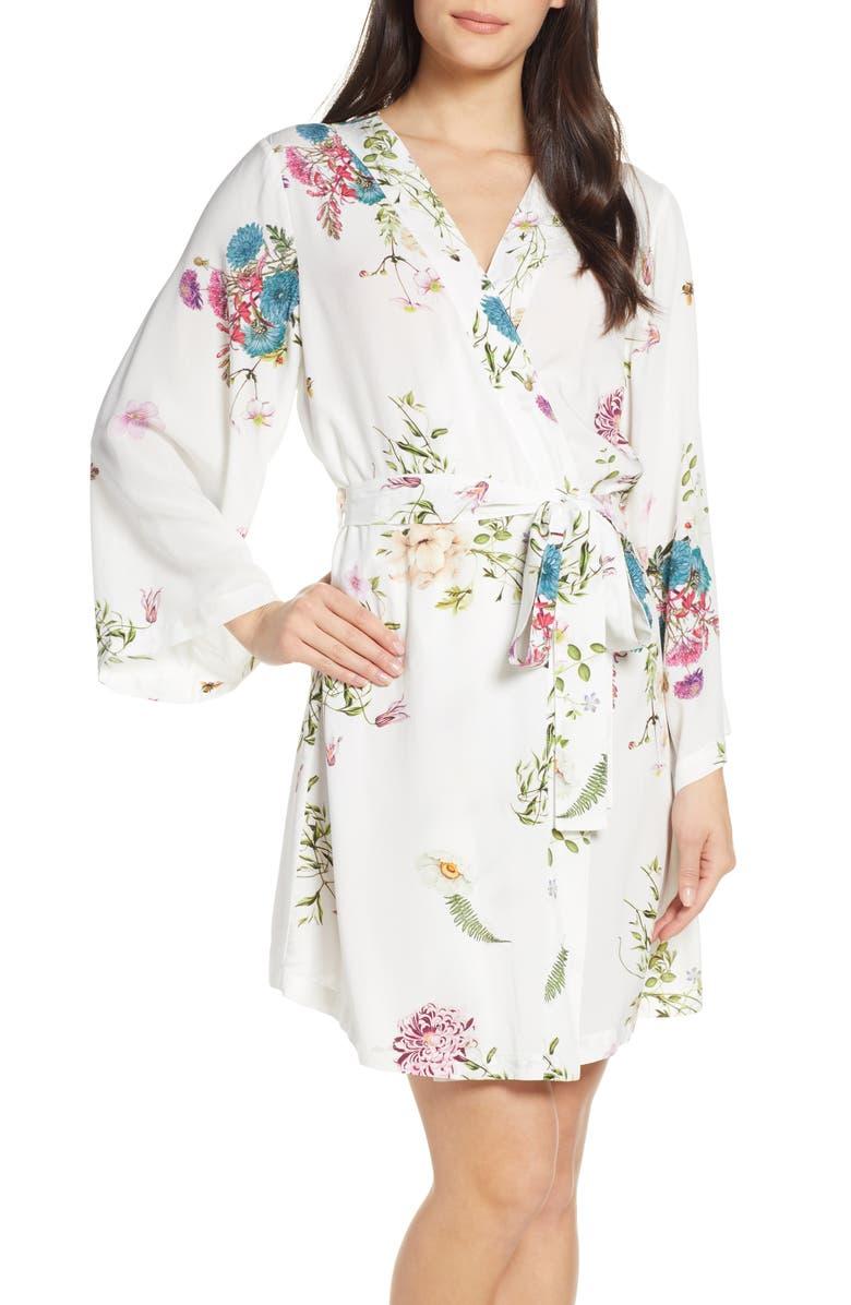 PLUM PRETTY SUGAR Floral Print Short Robe, Main, color, 100