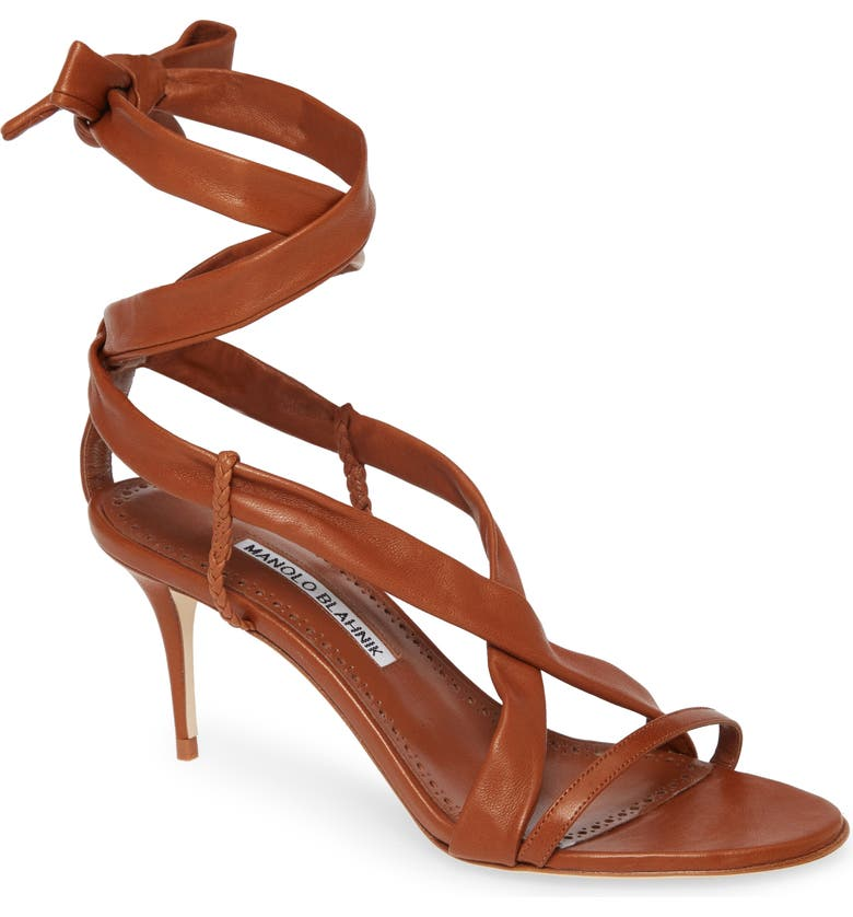 MANOLO BLAHNIK Tor Ankle Wrap Sandal, Main, color, TAN LEATHER