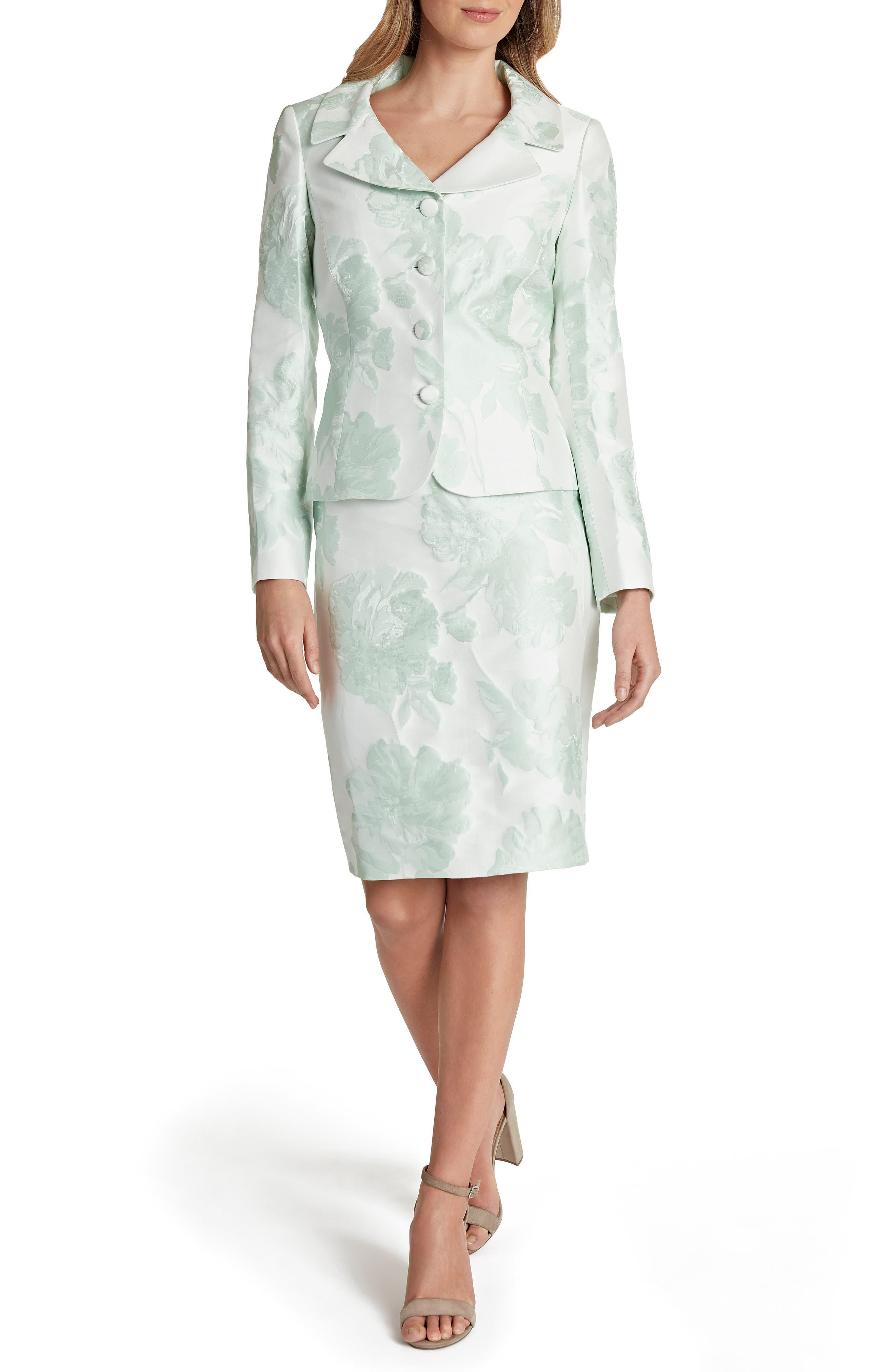 Tahari Floral Jacquard Suit