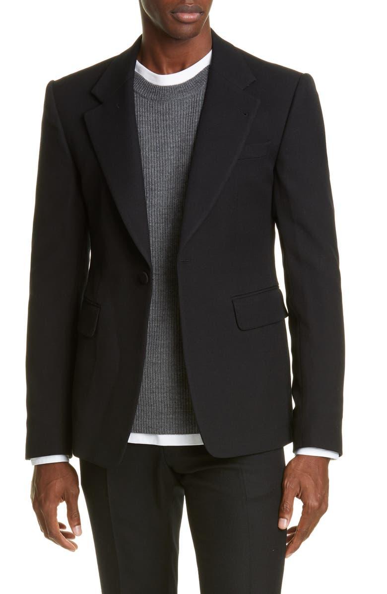 DRIES VAN NOTEN Wool Sport Coat, Main, color, BLACK
