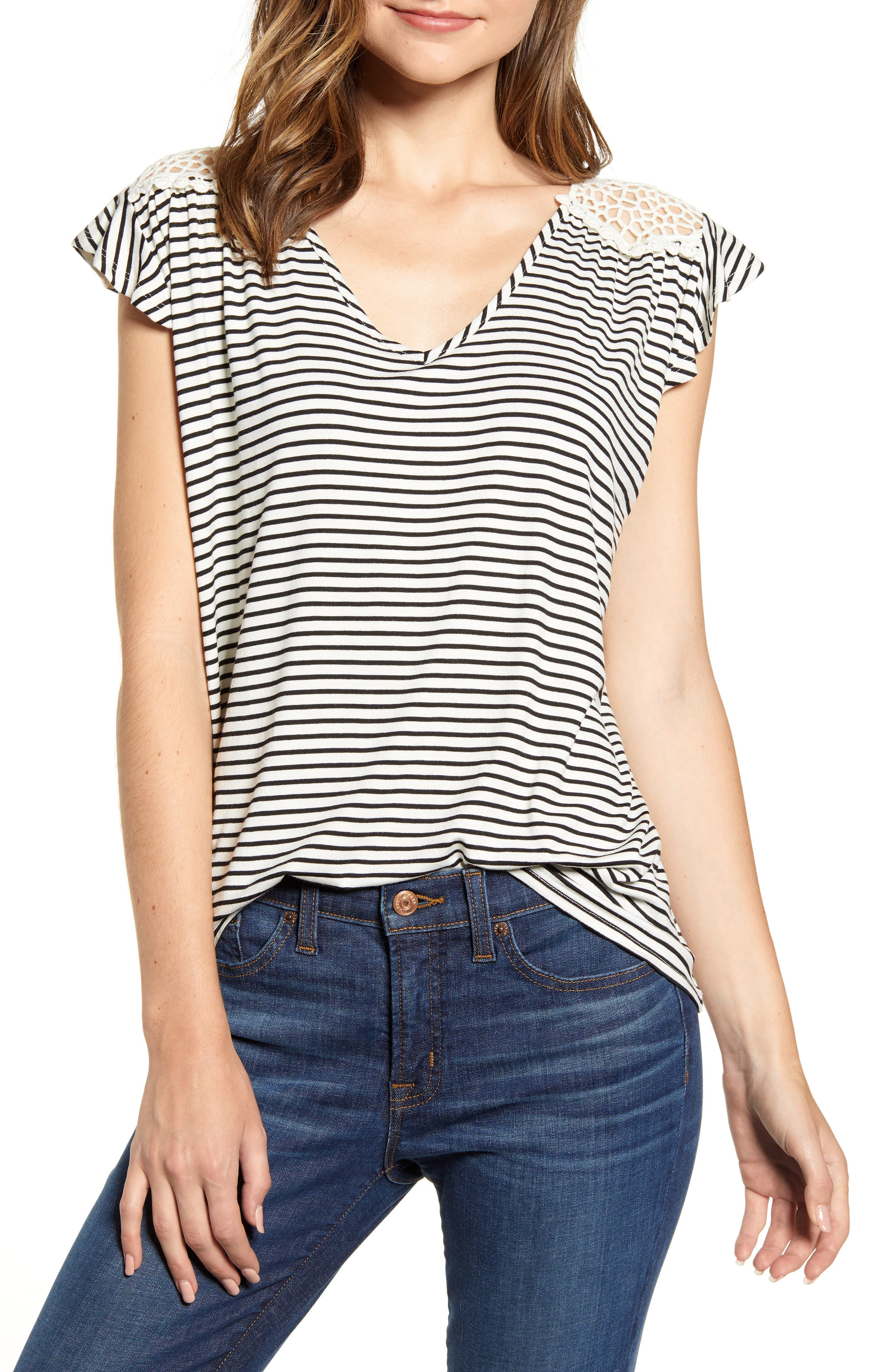 This cleverly striped V-neck top is styled in a flowy silhouette with an airy crochet back. Style Name: Loveappella Crochet Back Stripe Top. Style Number: 5882506. Available in stores.
