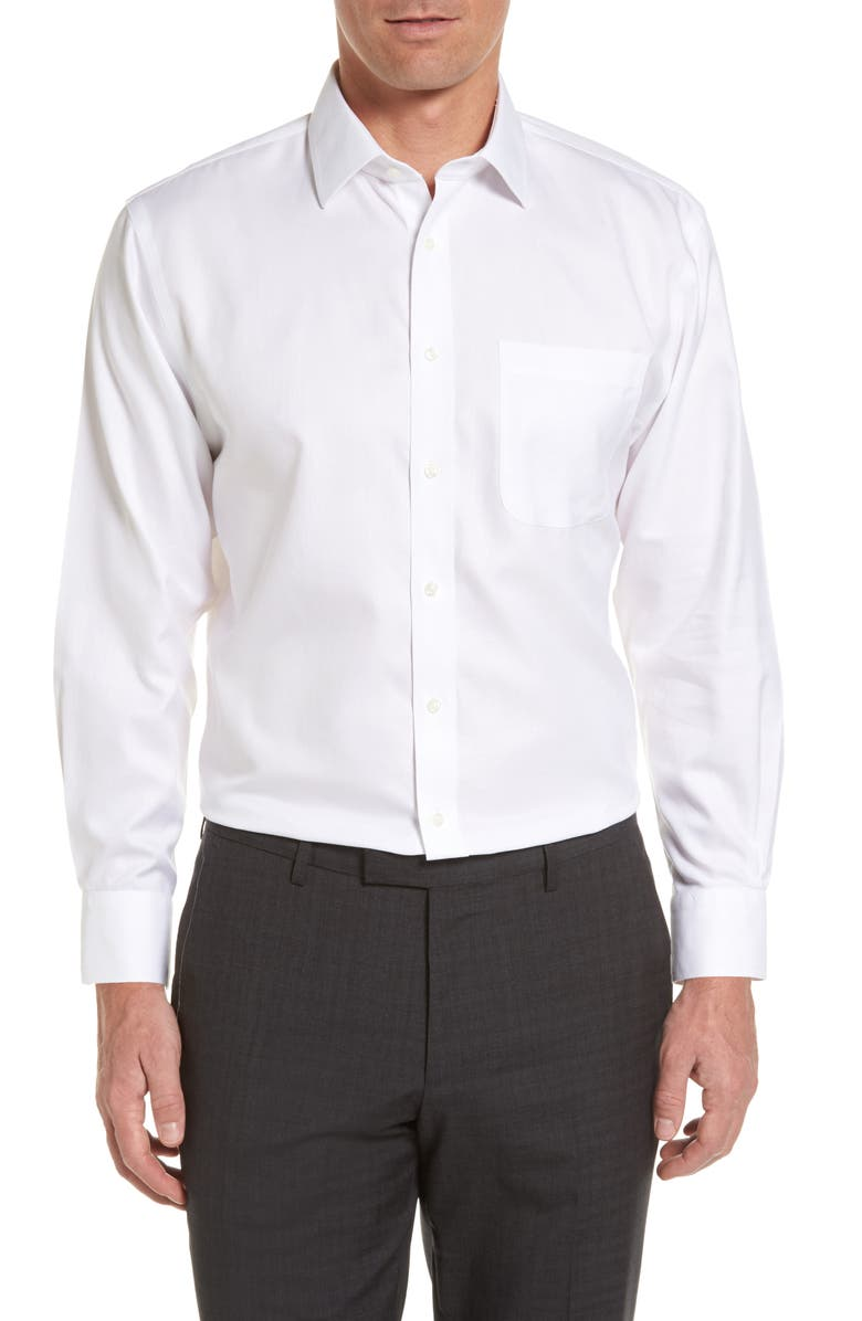 NORDSTROM MEN'S SHOP Nordstrom Mens Shop Smartcare<sup>™</sup> Traditional Fit Herringbone Dress Shirt, Main, color, WHITE