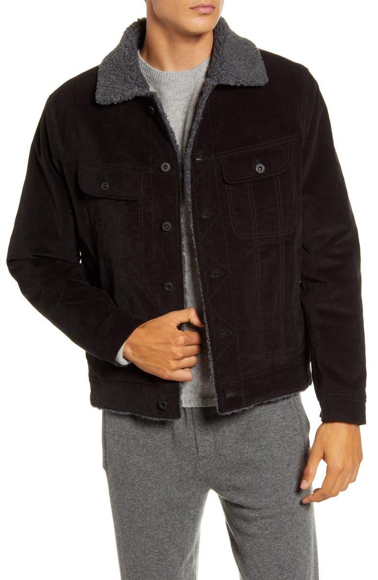 VINCE Faux Fur Lined Corduroy Trucker Jacket, Main, color, BLACK