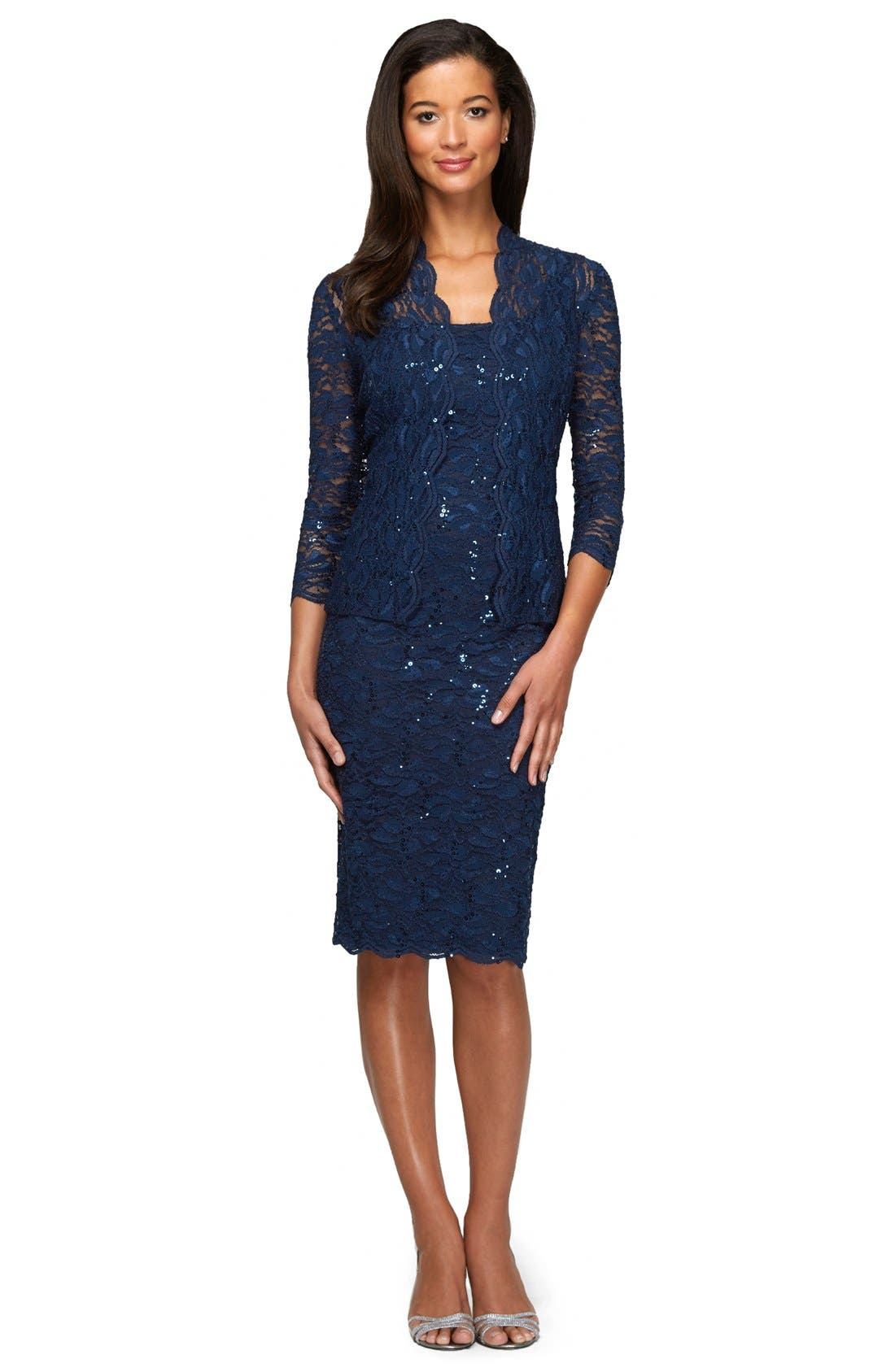 ,                             Lace Dress & Jacket,                             Alternate thumbnail 6, color,                             NAVY