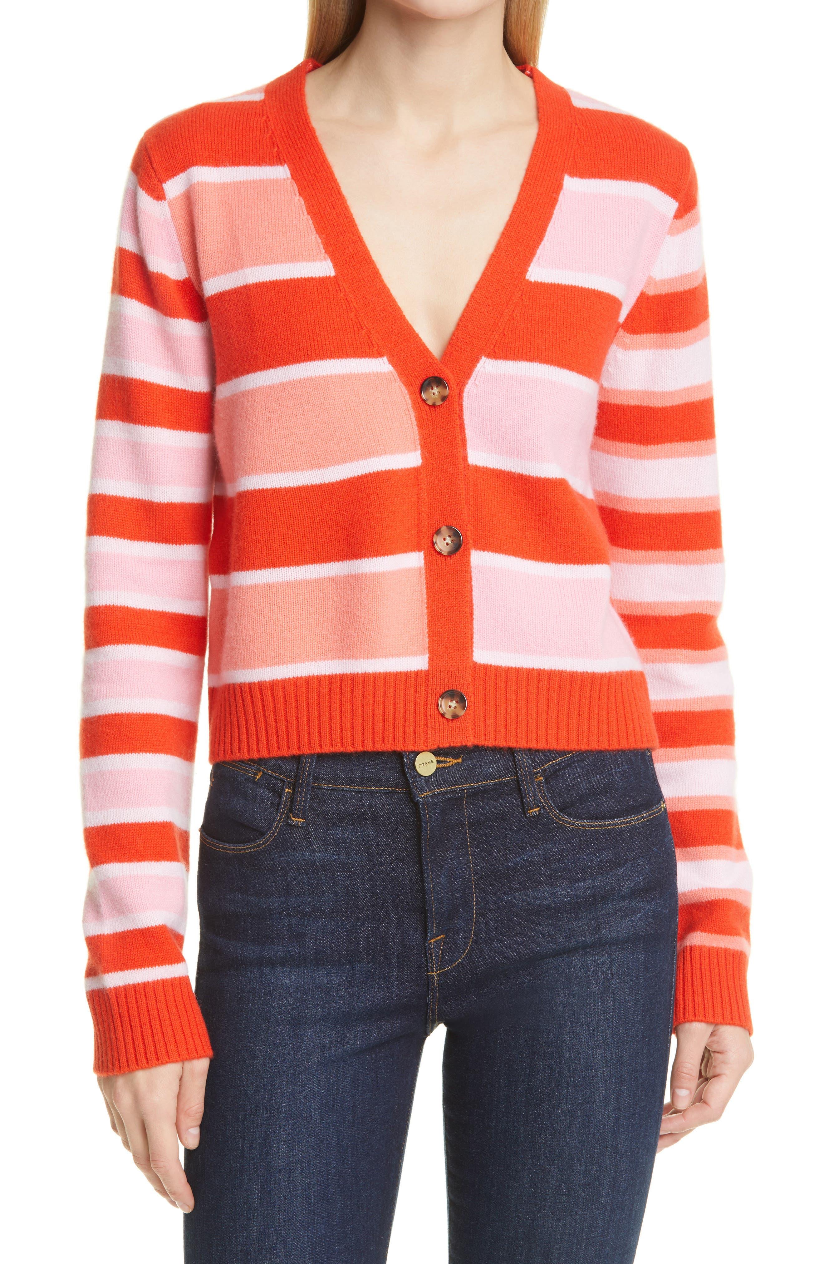 Stripe Cashmere Cardigan
