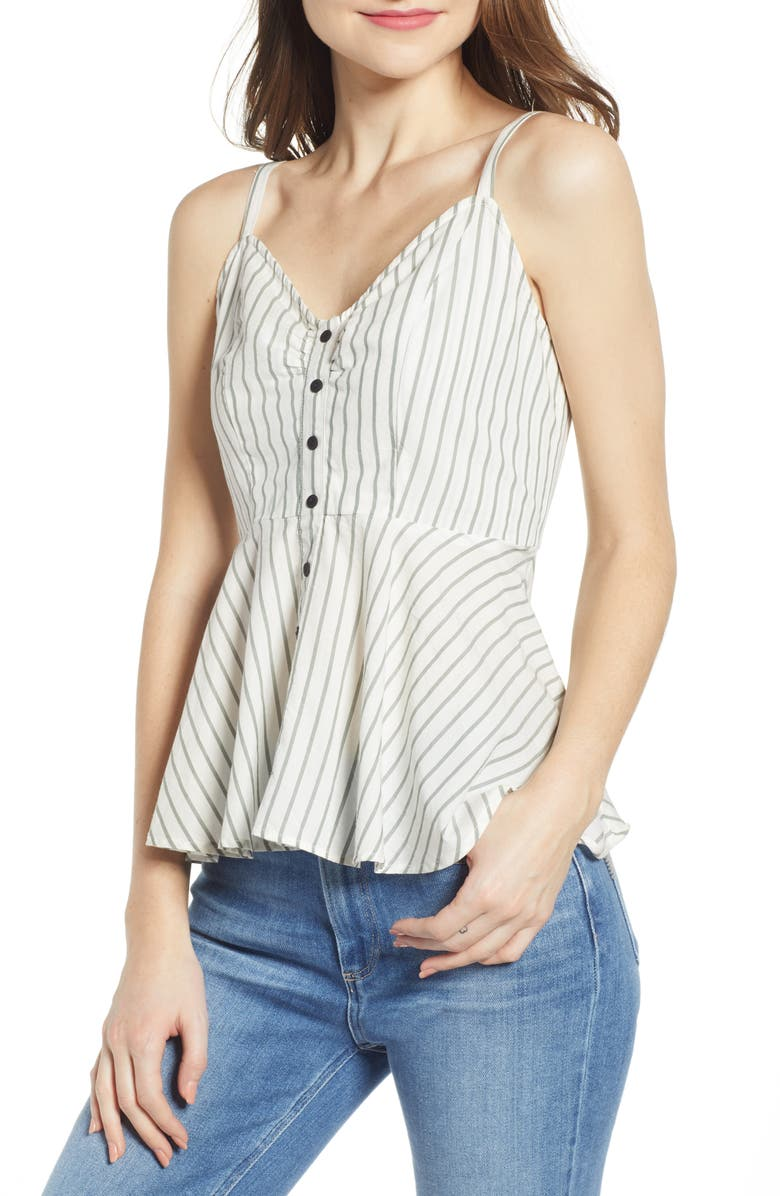 Cluna Stripe Peplum Detail Cotton Top by Vero Moda
