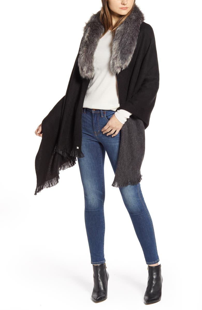 LAUREN RALPH LAUREN Lauren Faux Fur Collar Reversible Ruana, Main, color, BLACK