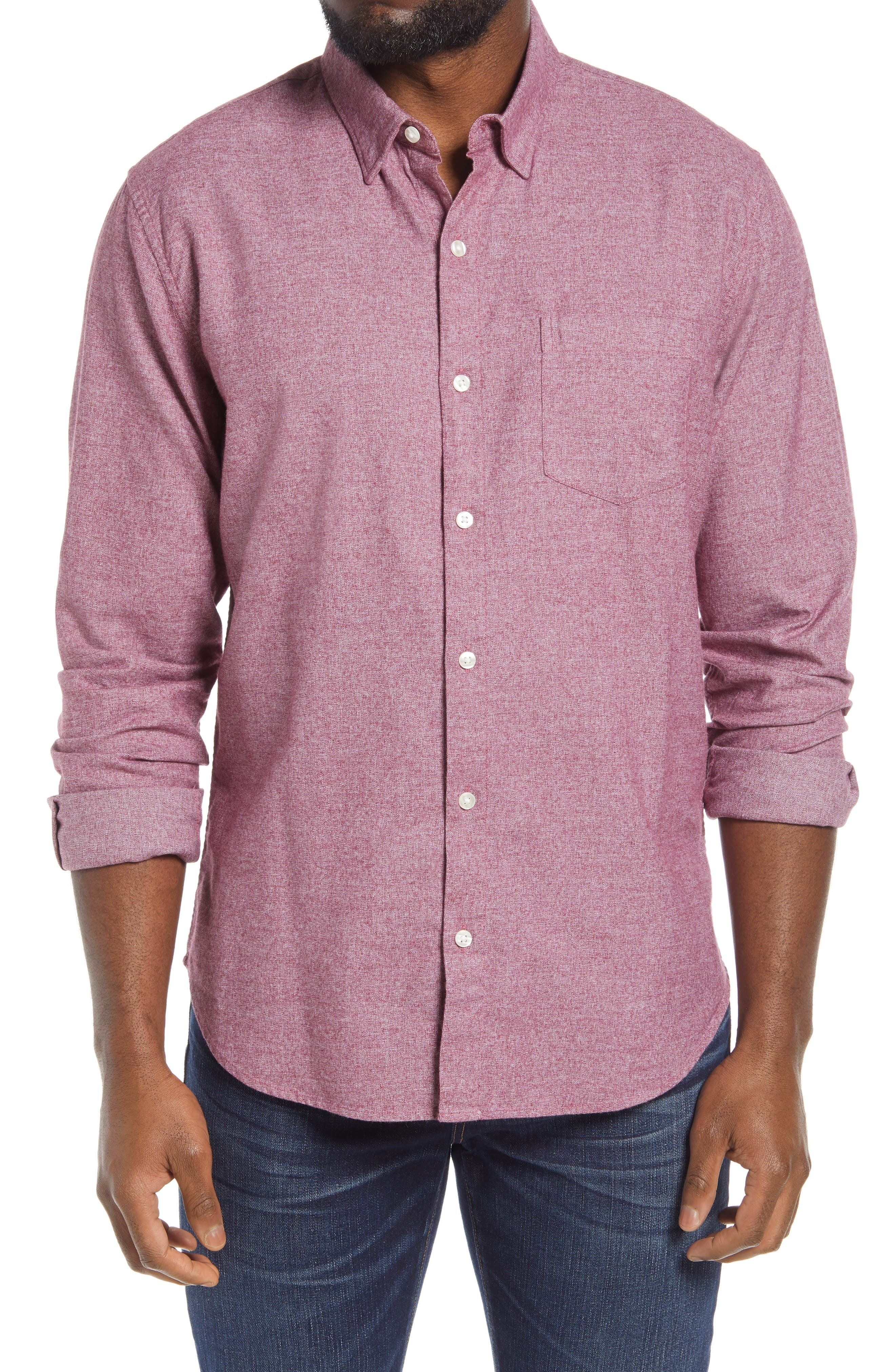 Brushed cotton construction adds a touch of texture to a slim-fit shirt with a smart hidden-button collar. Style Name: Bonobos Slim Fit Brushed Cotton Button-Up Shirt. Style Number: 6108039. Available in stores.