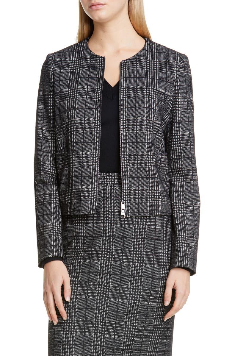 BOSS Javidar Glen Check Zip Jacket, Main, color, BLACK FANTASY