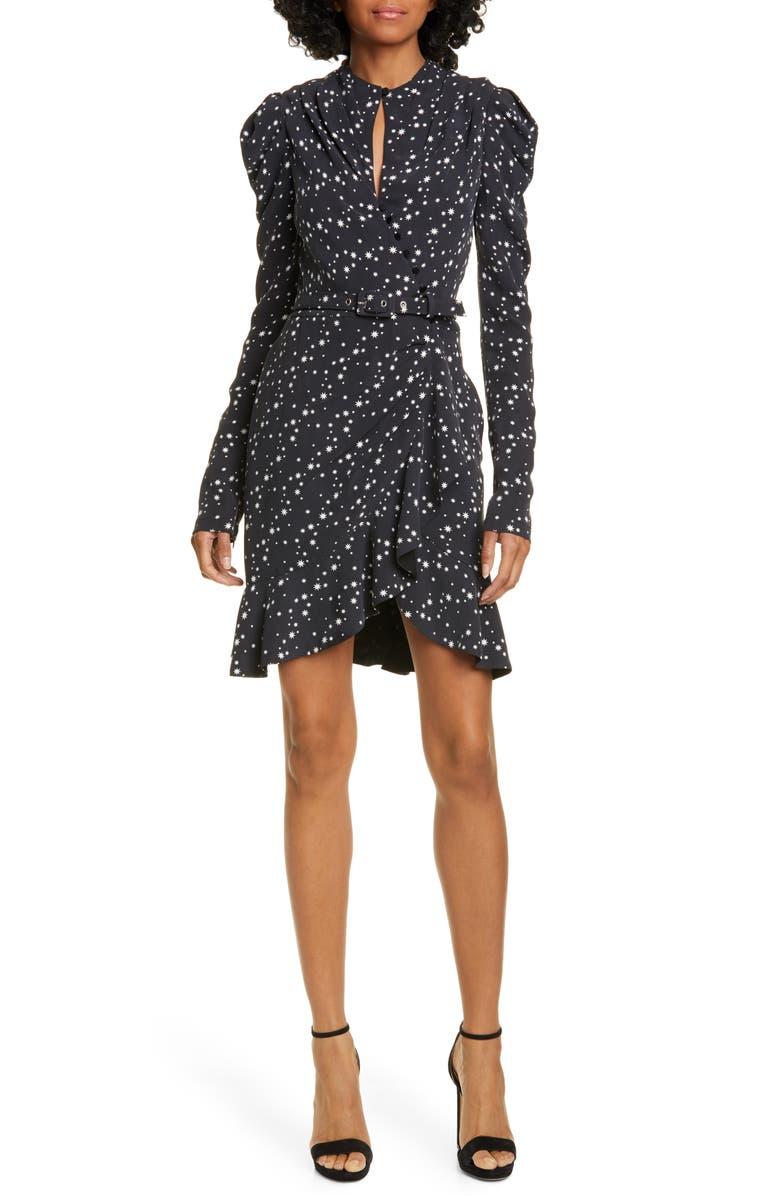 JONATHAN SIMKHAI Star Print Long Sleeve Dress, Main, color, 002