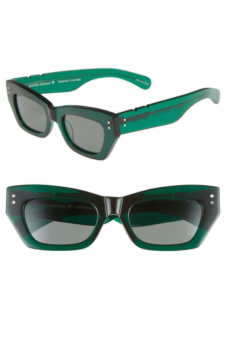 PARED Bec & Bridge Petite Amour 50mm Sunglasses, Main, color, EMERALD SOLID GREEN LENSES
