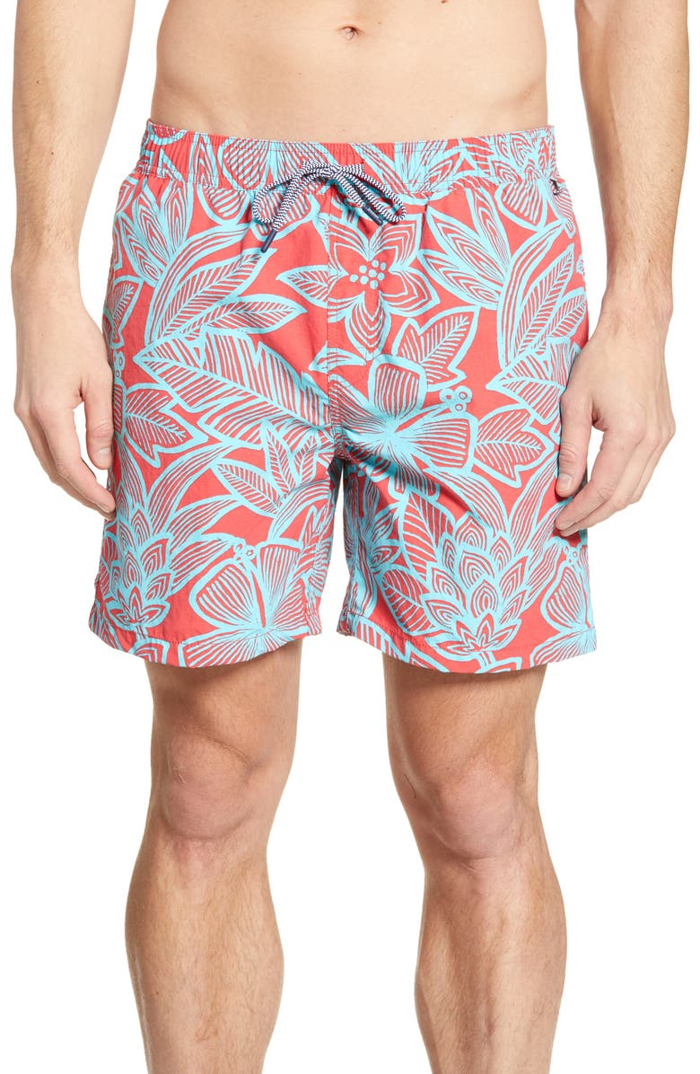 Reyn Spooner South Pacific Garden Print Swim Trunks