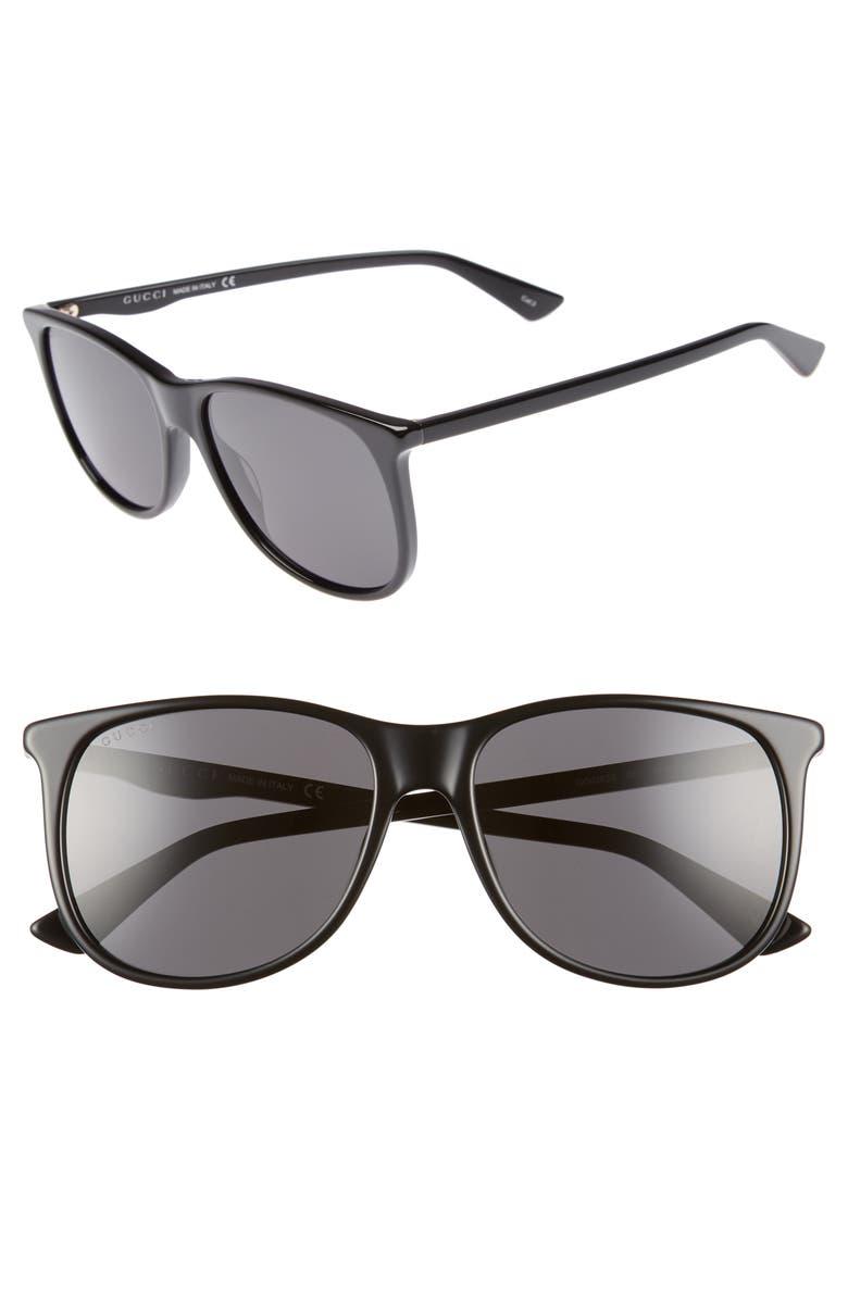 GUCCI 80s 56mm Sunglasses, Main, color, BLACK
