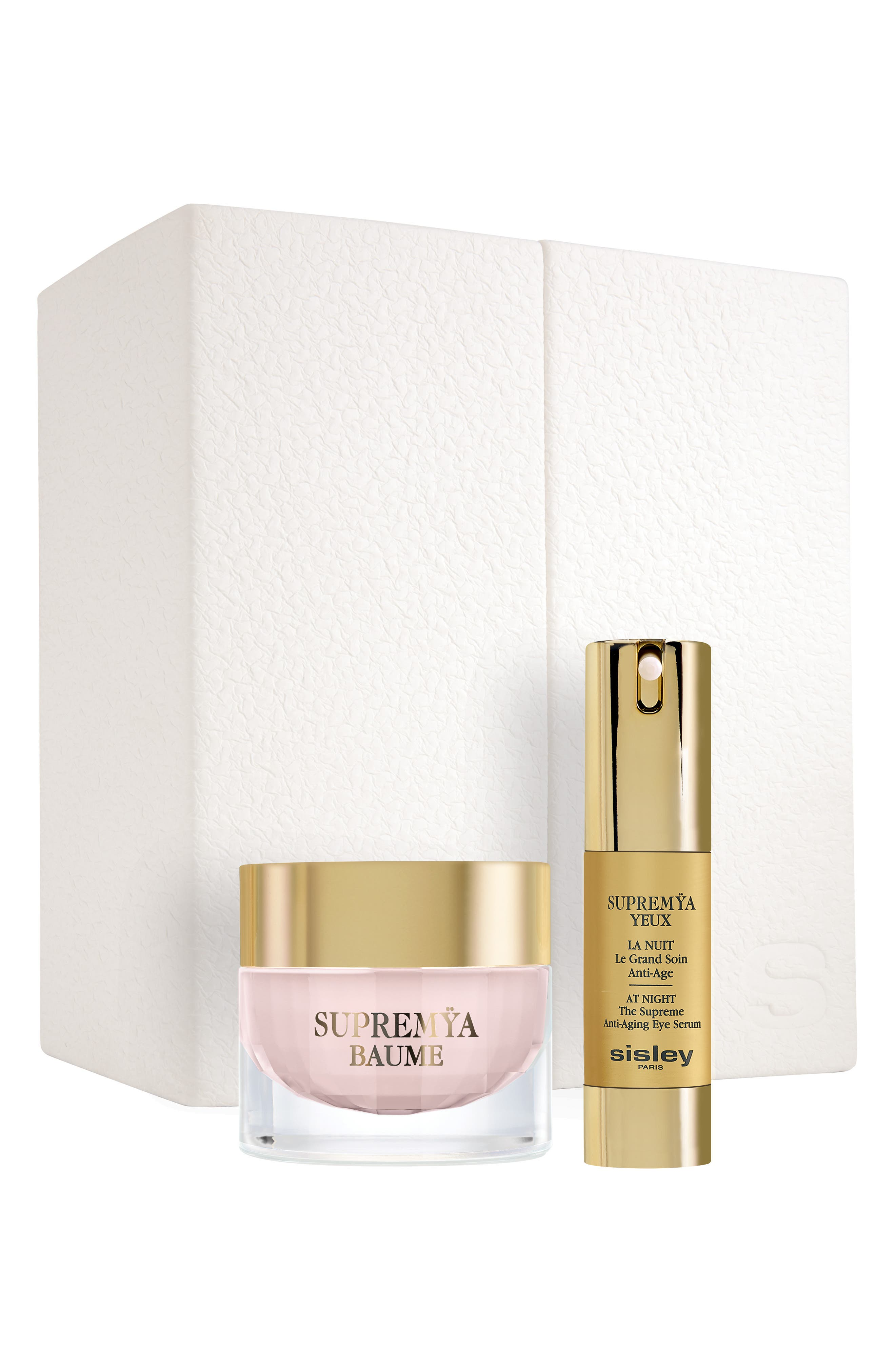 What it is: A deluxe skin care set featuring full sizes of Supremya Baume At Night and Supremya Eyes at Night, in an elegant box. Set includes:- Full-size Supremya Baume At Night Supreme Anti-Aging Cream (1.6 oz.): a supreme nighttime anti-aging product that addresses past skin damage to visibly rejuvenate the skin, featuring a deliciously smoothing, easily applied, rich and fine cream texture- Full-size Supremya Eyes At Night Supreme Anti-Aging