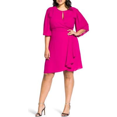 Plus Size City Chic Jolie Faux Wrap Dress, Pink