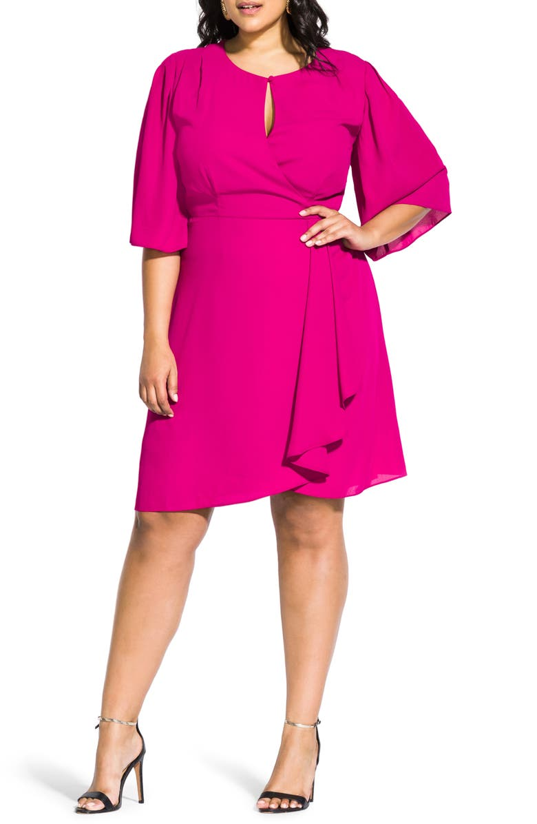 CITY CHIC Jolie Faux Wrap Dress, Main, color, MAGENTA