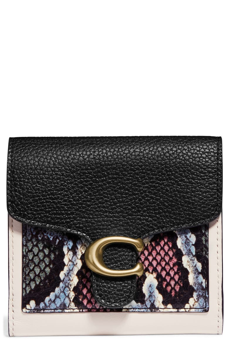 COACH Small Tabby Genuine Snakeskin & Leather Wallet, Main, color, B4/ CHALK MULTI