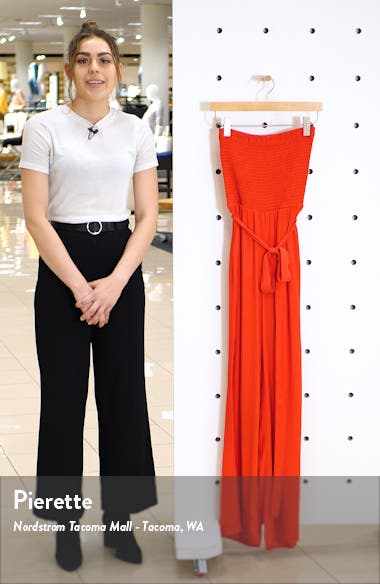 Smocked Bodice Strapless Jumpsuit, sales video thumbnail