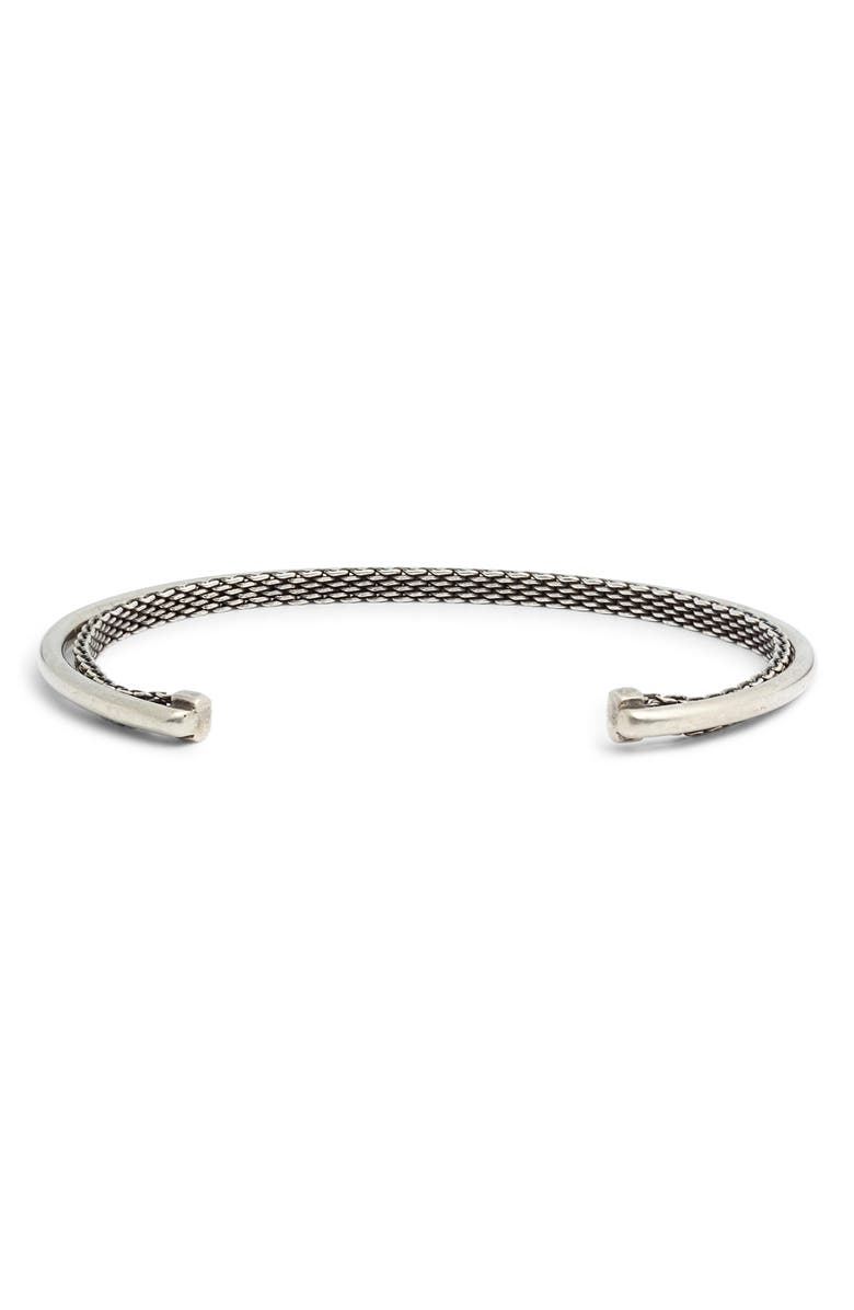 TITLE OF WORK Mesh Cuff Bracelet, Main, color, SILVER