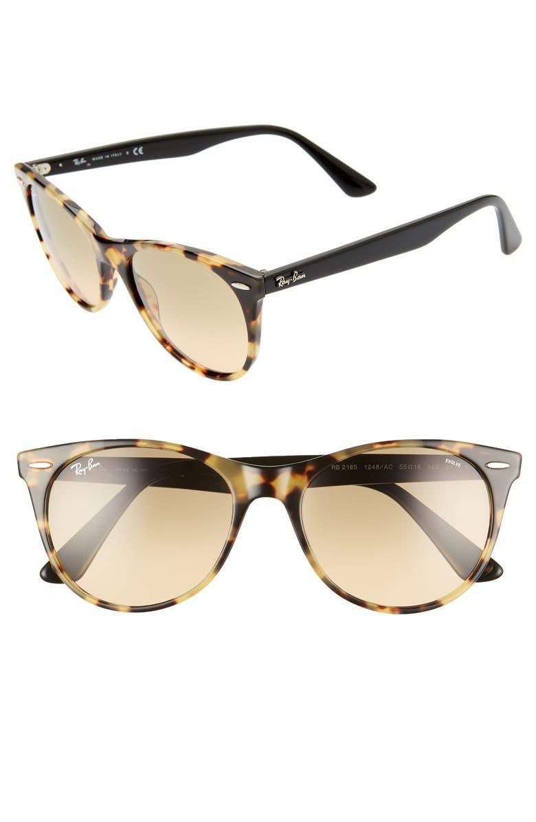 RAY-BAN Wayfarer II 55mm Polarized Photochromic Sunglasses, Main, color, YELLOW TORTOISE SOLID
