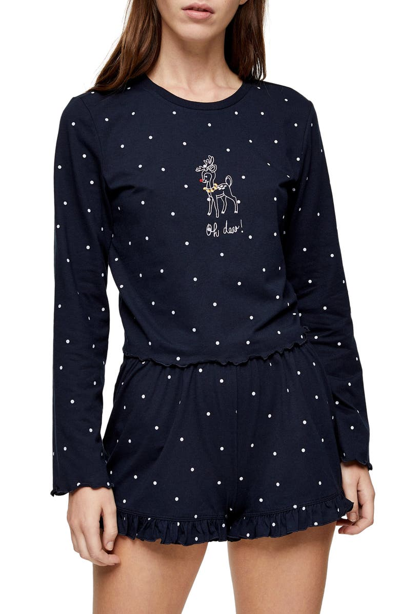 TOPSHOP Oh Deer Polka Dot Short Pajamas, Main, color, 411