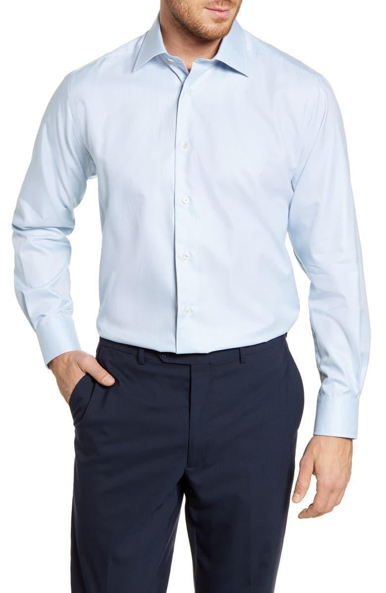 DAVID DONAHUE Regular Fit Solid Dress Shirt, Main, color, GRASS
