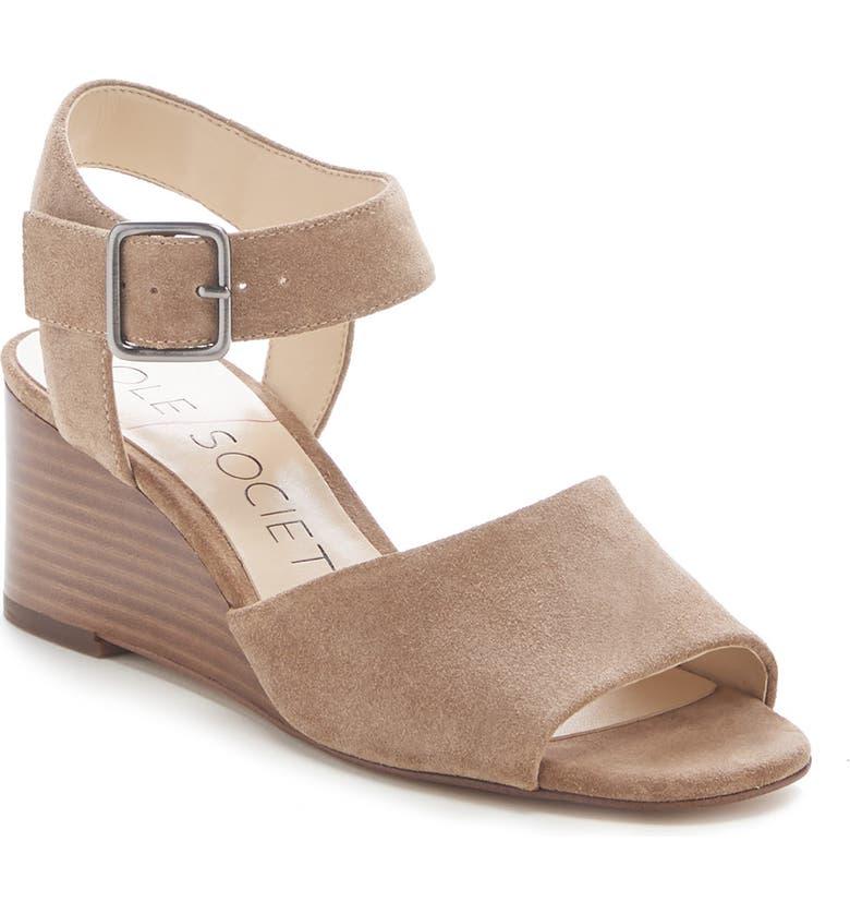 SOLE SOCIETY Korri Wedge Sandal, Main, color, HONEY SUEDE