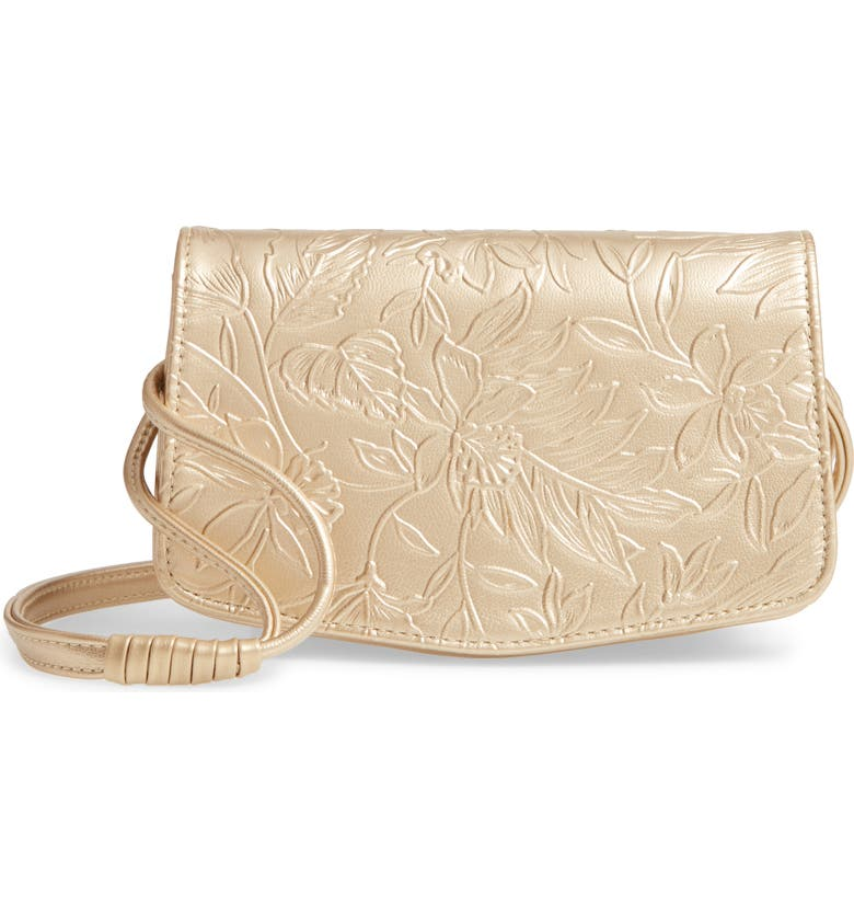 SONDRA ROBERTS Floral Embossed Faux Leather Crossbody Bag, Main, color, GOLD