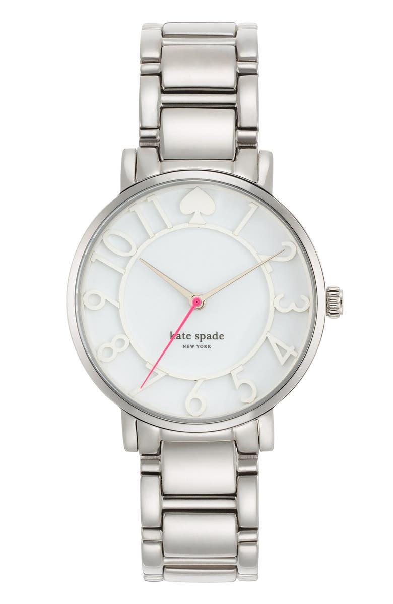 KATE SPADE NEW YORK 'gramercy' round bracelet watch, 34mm, Main, color, 040
