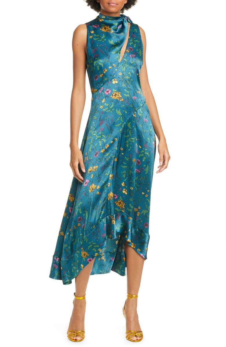 AMUR Georgia Tie Neck Floral Print Silk Midi Dress, Main, color, 440