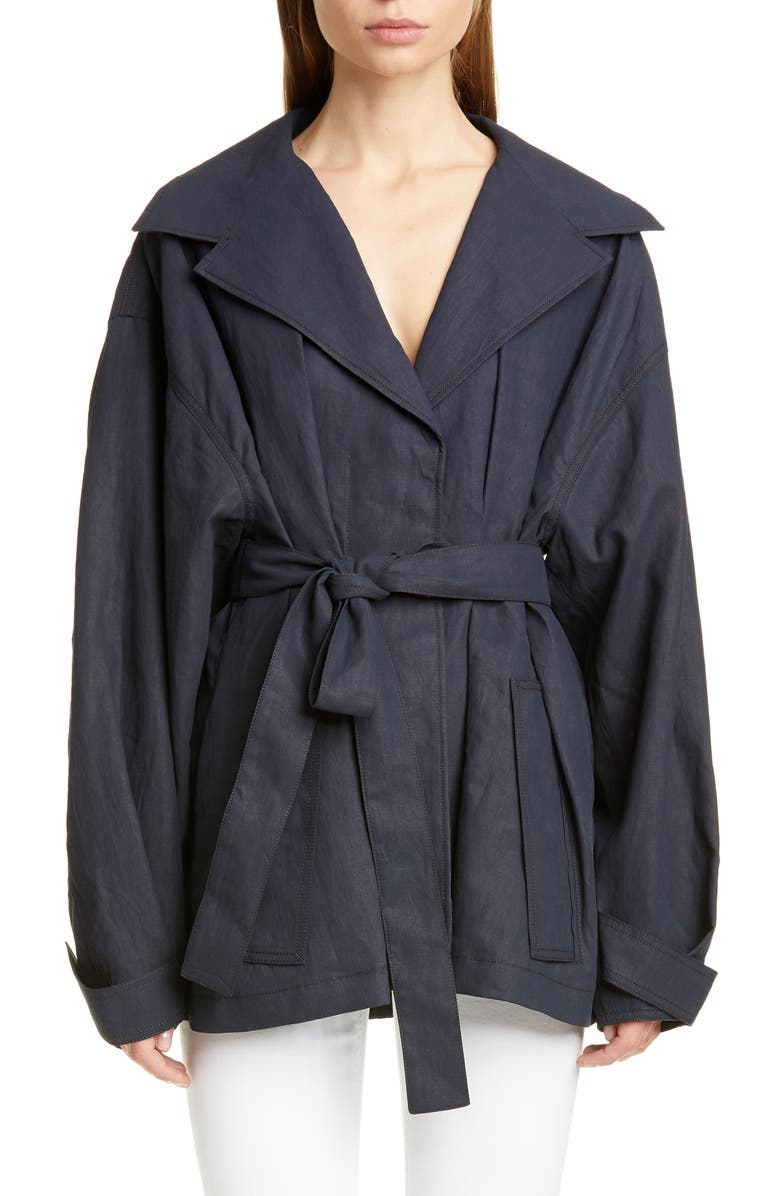 JACQUEMUS Le Manteau Claudia Court Linen Jacket, Main, color, NAVY