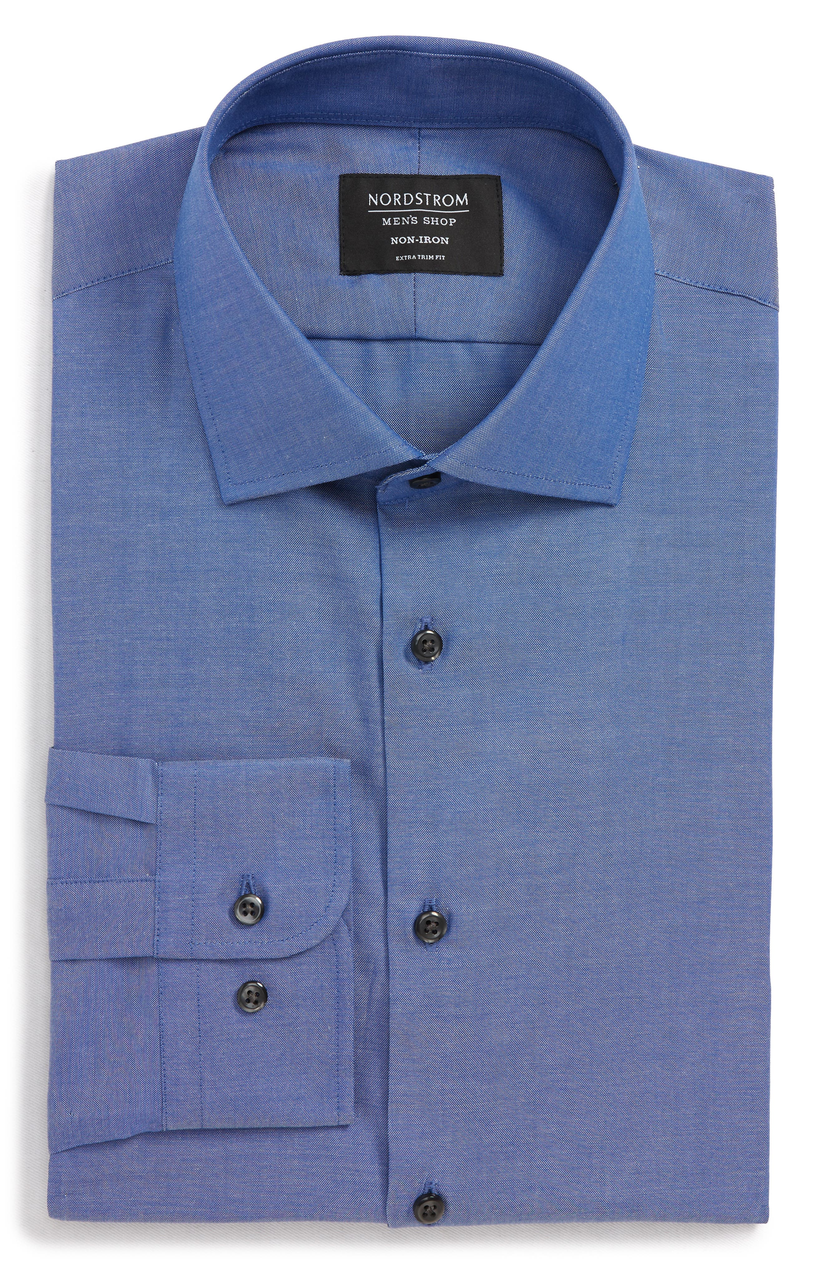 ,                             Extra Trim Fit Non-Iron Solid Dress Shirt,                             Alternate thumbnail 23, color,                             420