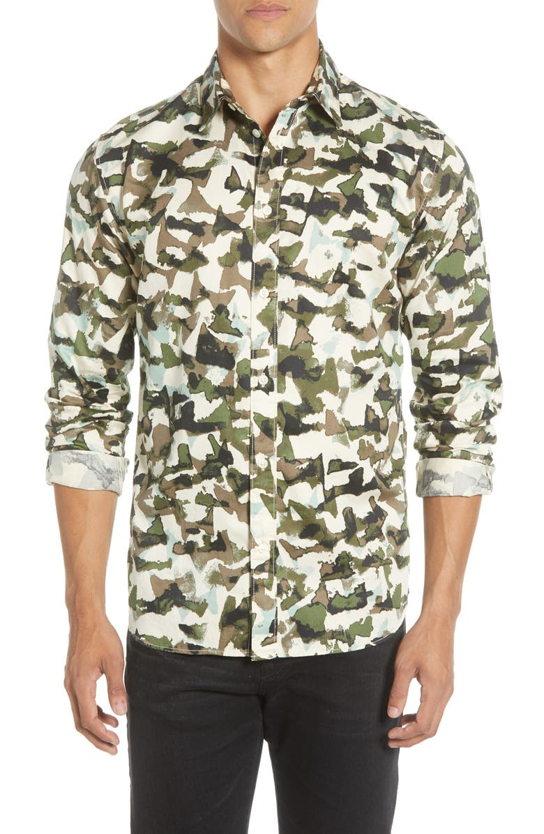 SELECTED HOMME Bryson Slim Fit Camo Button-Up Shirt, Main, color, SEA TURTLE