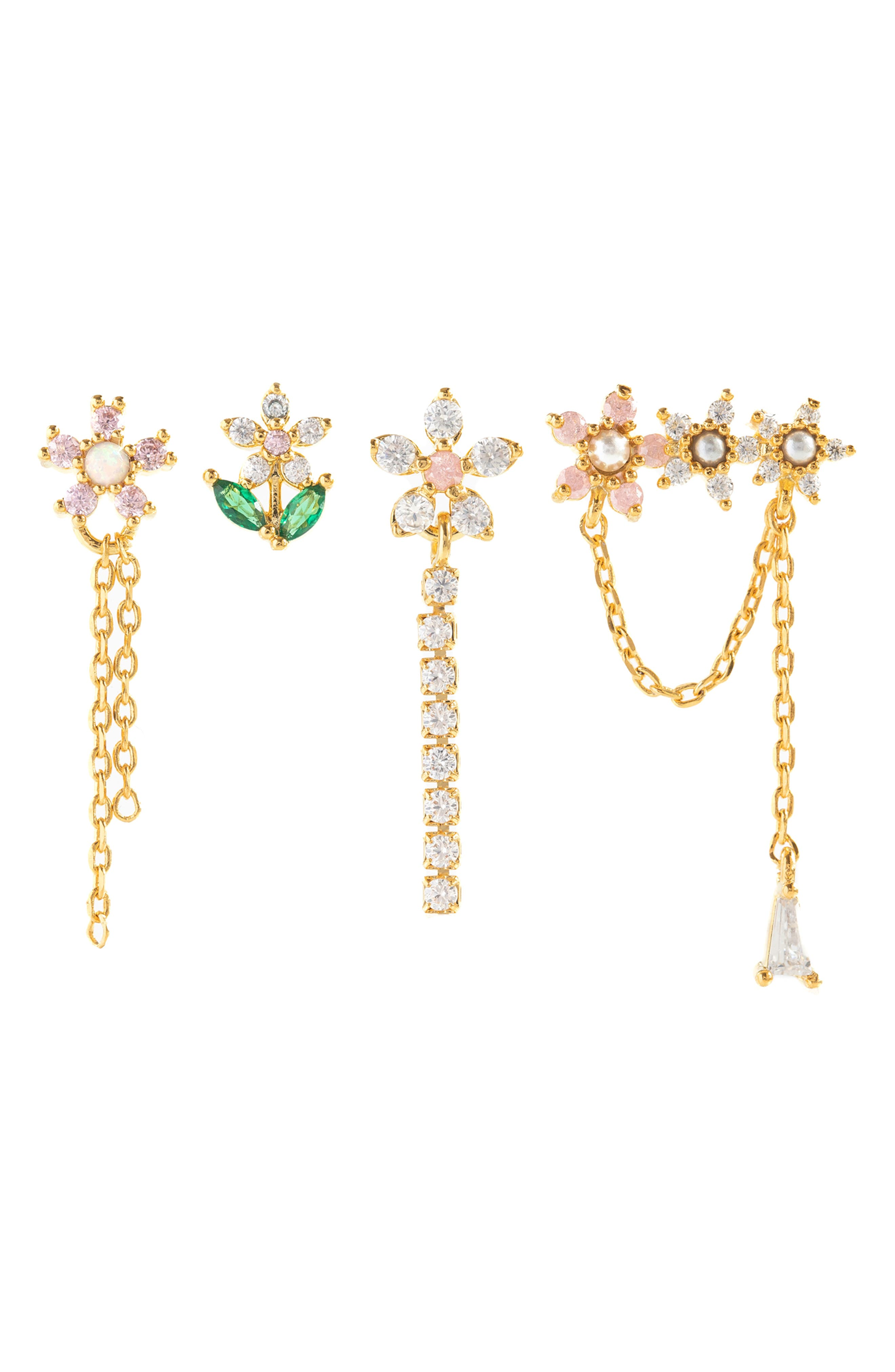 Florina Set Of 4 Mismatched Stud Earrings