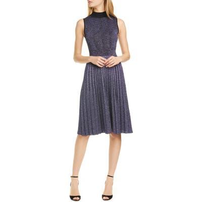 Kate Spade New York Pleated Metallic Sweater Dress, Black