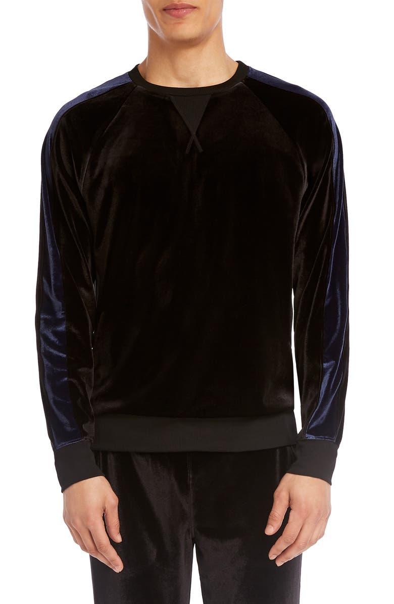 2(X)IST Velour Crewneck Sweatshirt, Main, color, BLACK
