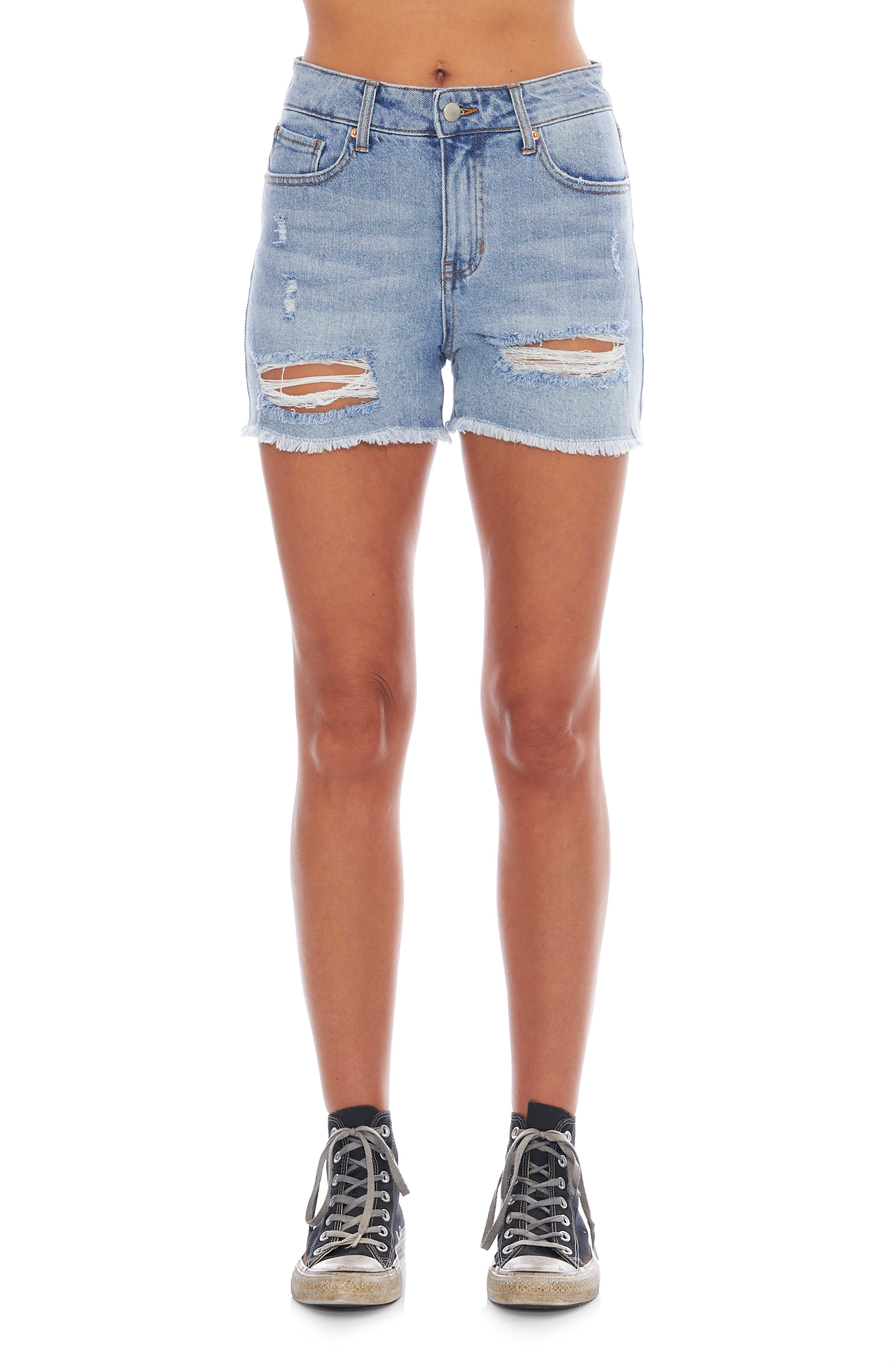 Ripped Fray Hem Denim Shorts