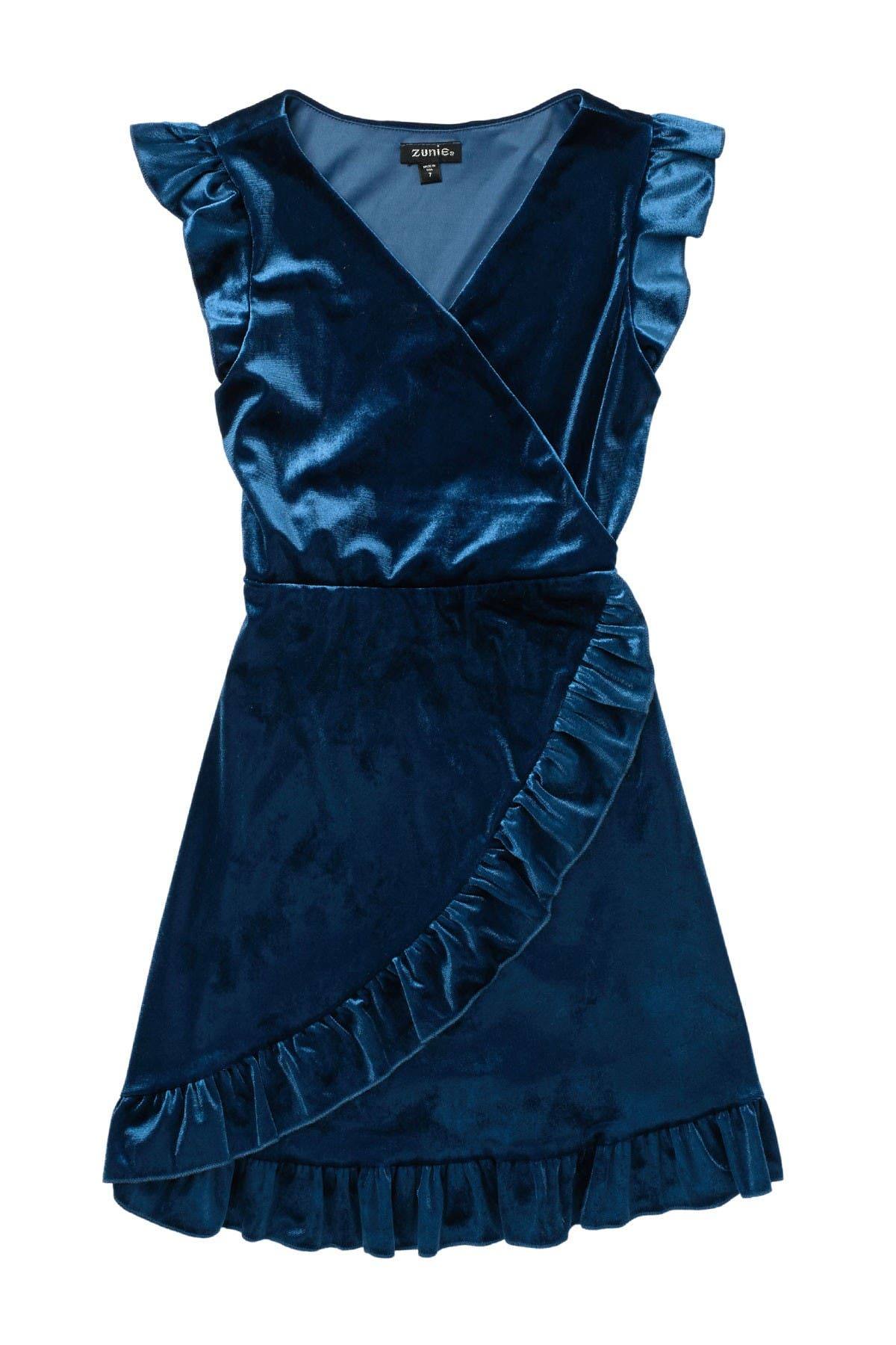 Image of Zunie Flutter Sleeve Ruffle Surplice Dress