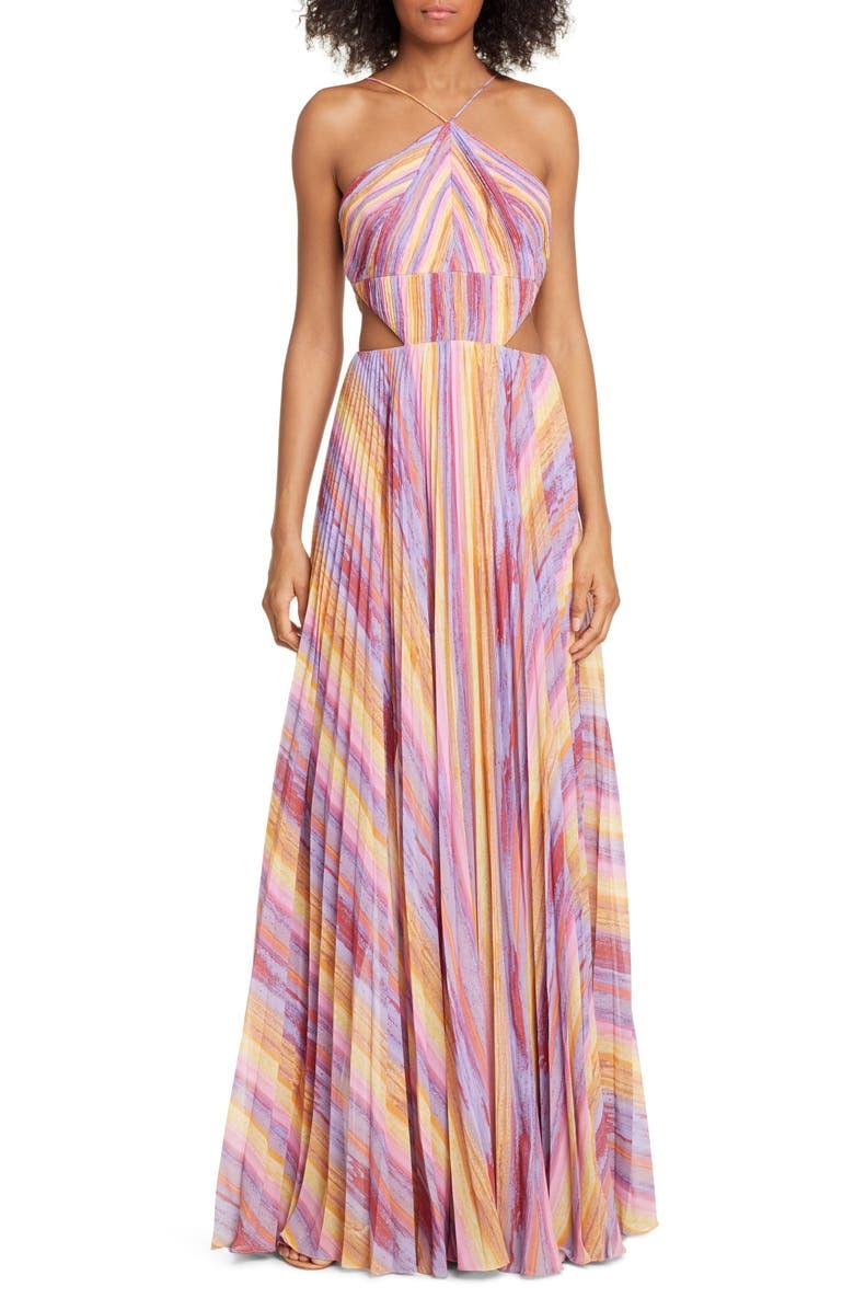 AMUR Janet Cutout Pleated Evening Dress, Main, color, MULTI