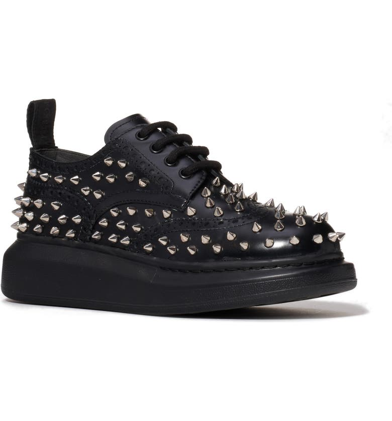 ALEXANDER MCQUEEN Studded Platform Sneaker, Main, color, BLACK/ SILVER