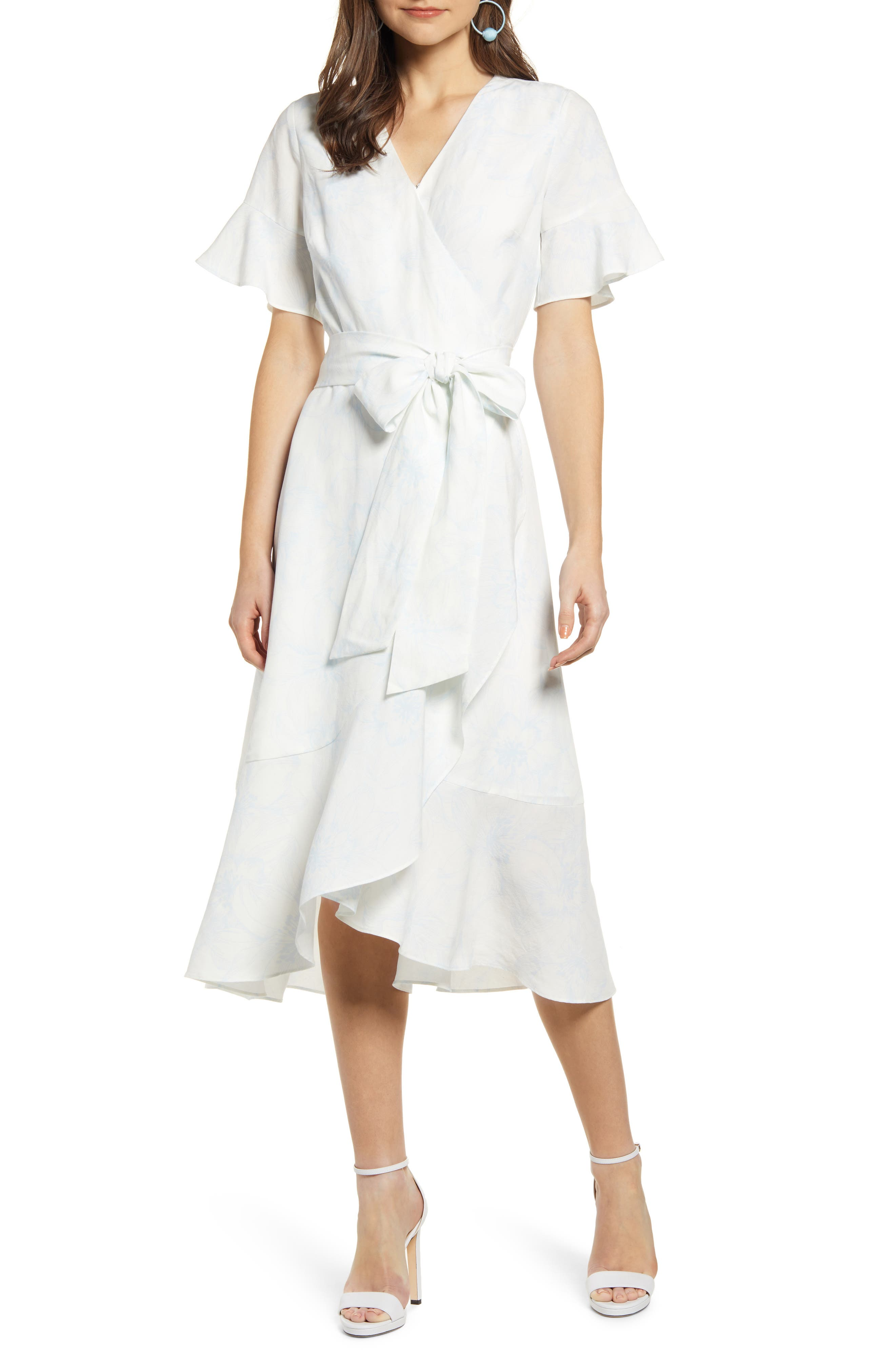 ,                             Ruffle Wrap Dress,                             Main thumbnail 1, color,                             IVORY DOVE SKETCH FLORAL