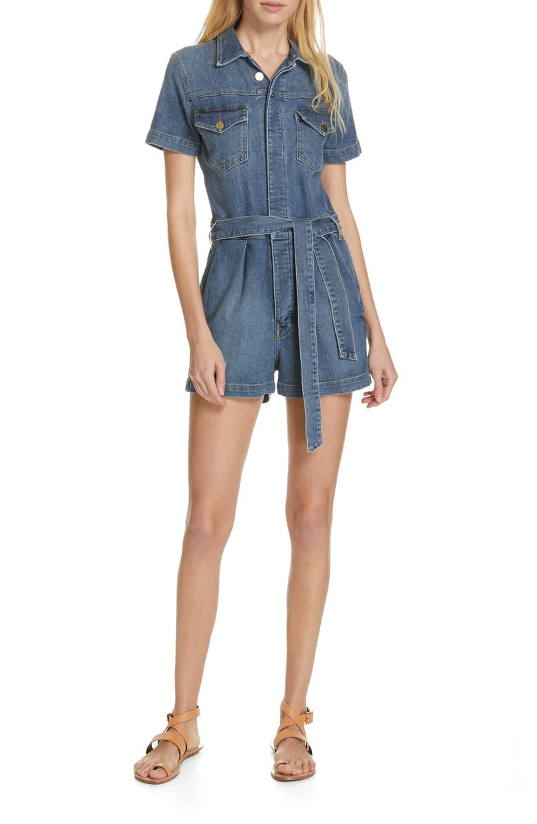 FRAME Pleated Denim Romper, Main, color, 420