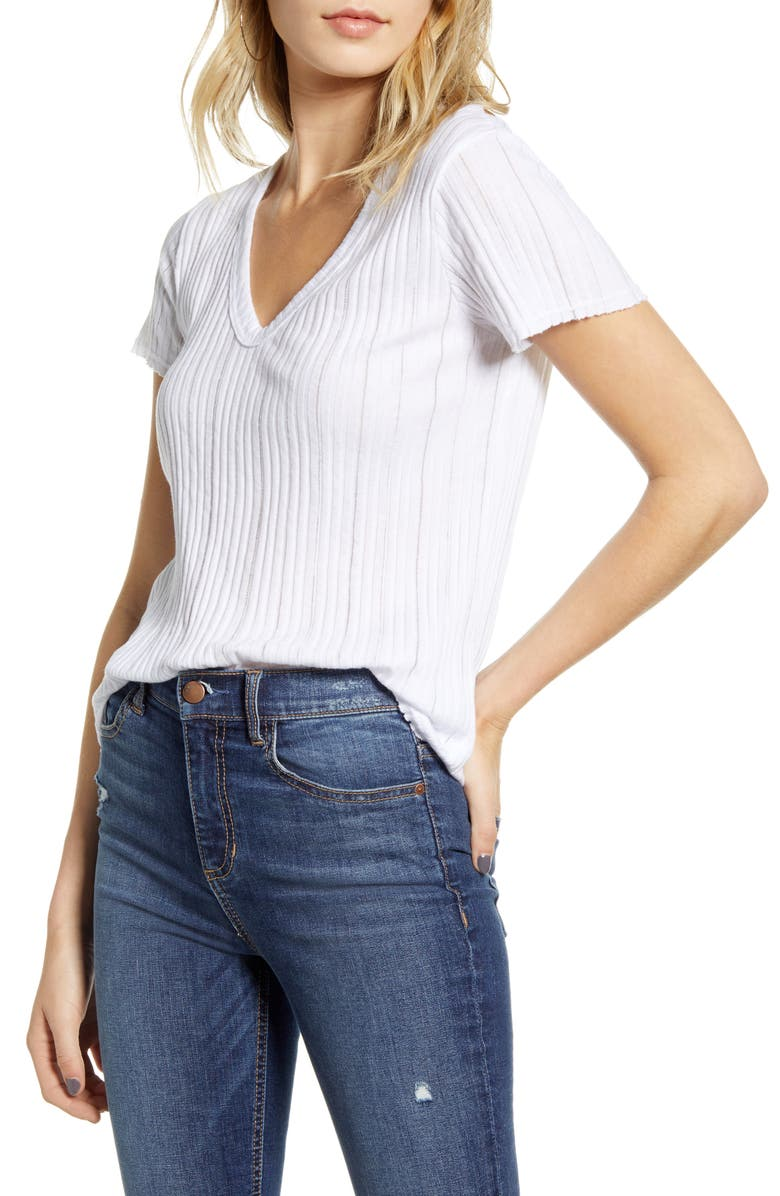 PROJECT SOCIAL T Promise Me V-Neck Rib Top, Main, color, WHITE