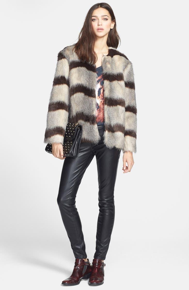 MURAL Stripe Faux Fur Jacket, Main, color, 210