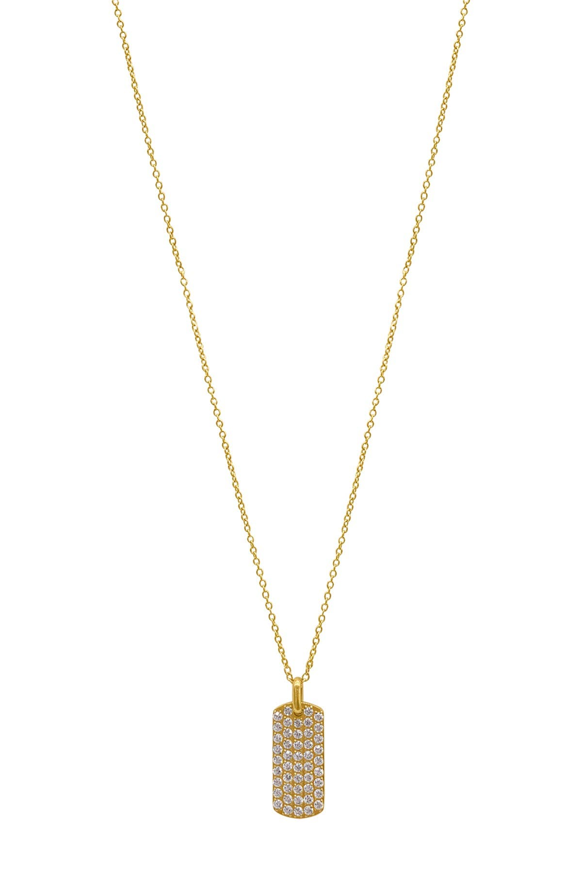 Image of ADORNIA 14K Gold Plated Pave Crystal Dog Tag Pendant Necklace