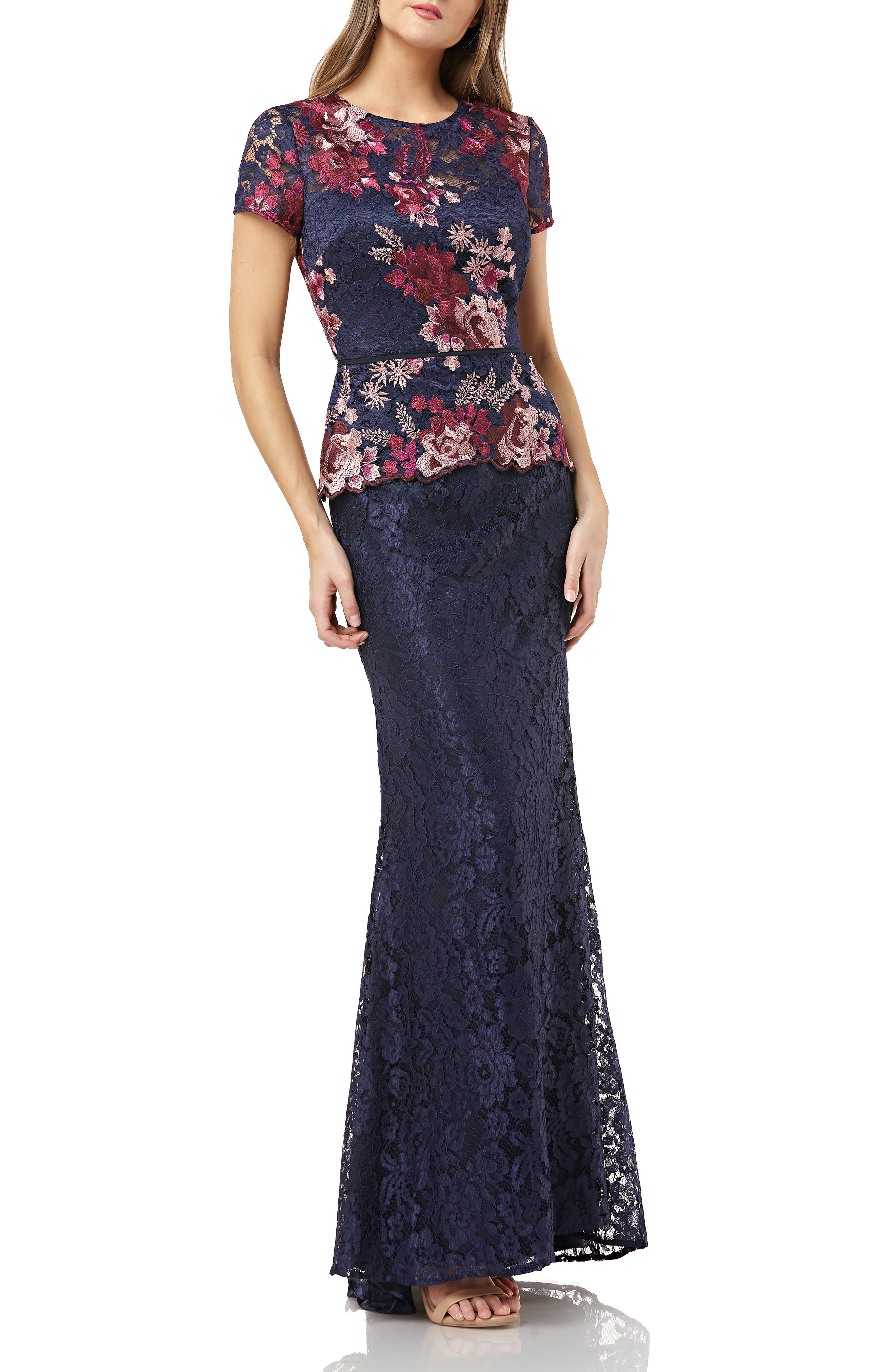 Js Collections Lace Gown, Blue