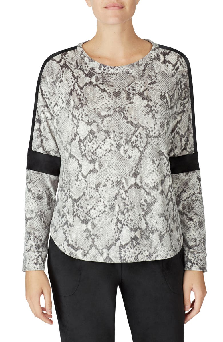 ROOM SERVICE Velour Lounge Top, Main, color, SNAKE SKIN ALL-OVER