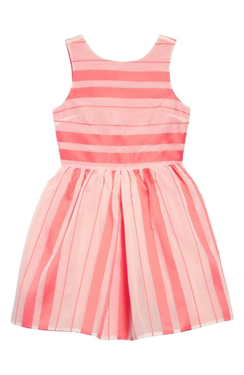 TOMMY HILFIGER Satin Stripe Fit & Flare Dress, Main, color, SHELL PINK