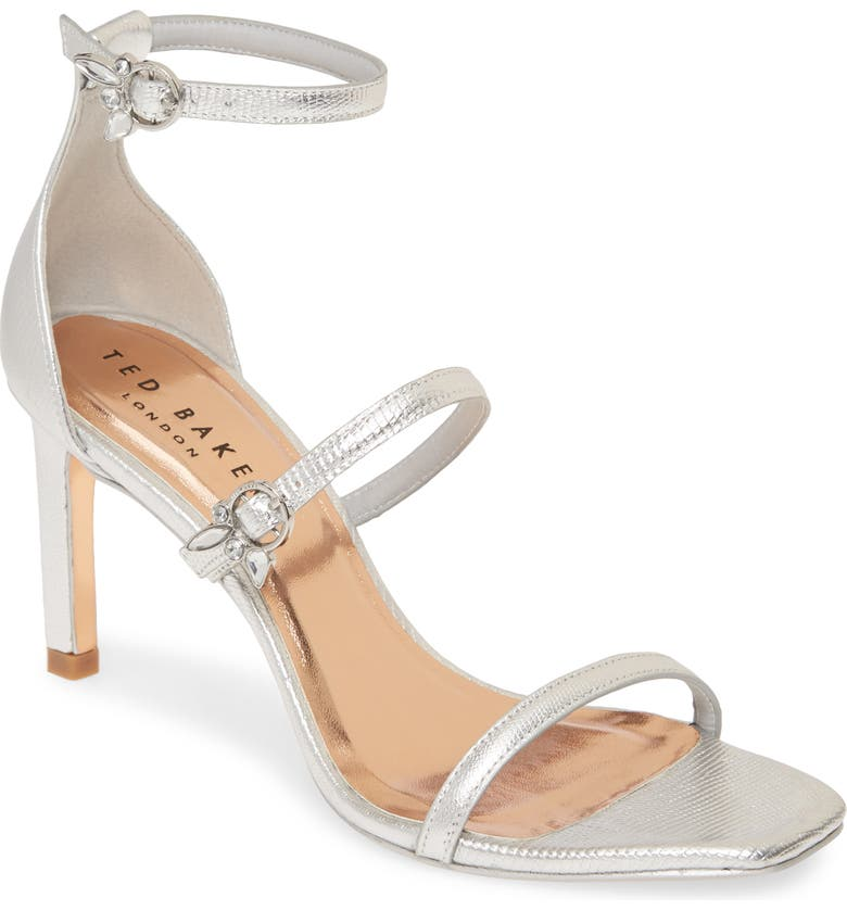 TED BAKER LONDON Lanoral Ankle Strap Sandal, Main, color, SILVER EMBOSSED LIZARD